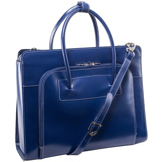 McKlein Lake Forest Italian Leather 15.4-inch Laptop Tote Bag (Option: Navy)
