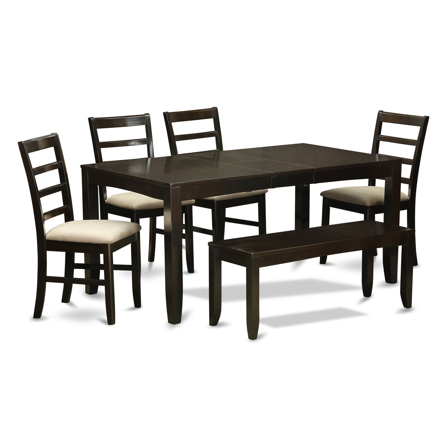 Cuppucino Rubberwood 6-piece Dining Table Set with Leaf a...
