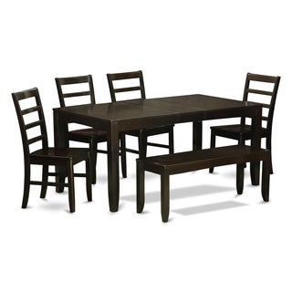 Cuppucino Rubberwood 6-piece Dining Table Set with Leaf and Bench