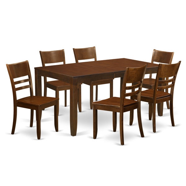LYFD7 ESP Espresso Rubberwood 7 Piece Dining Table Set