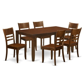 LYFD7-ESP Espresso Rubberwood 7-piece Dining Table Set with Table and Six Kitchen Chairs