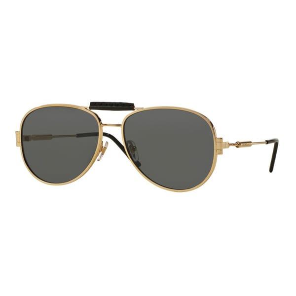 6b7fec06aabf Shop Versace Men's VE2167Q 100287 Gold Metal Pilot Sunglasses - Free ...