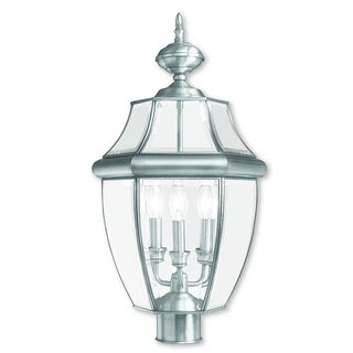 Livex Lighting Monterey Brushed Nickel 3-light Outdoor Post Lantern