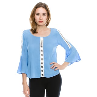 Cleo Women's Multicolor Rayon Bell-sleeve Top With Bar Detailing