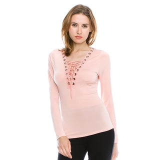Cleo Women's Pink Polyester, Spandex Front Lace-Up Long Sleeve Top