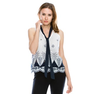 Cleo Women's Rayon Tie-neck Scalloped Embroidered V-neck Tank Top