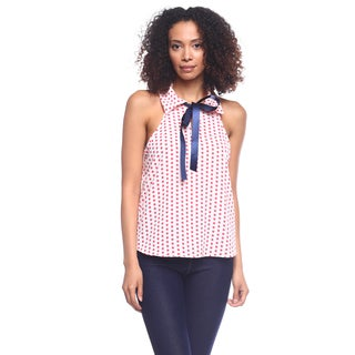 Cleo Collared Polka-dot Bow-front Tank Top