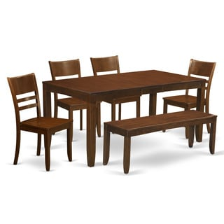 LYFD6-ESP Espresso Wood Dining Table with Leaf and 4 Chairs Plus 1 Bench