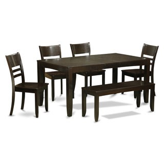 Link to LYFD6-CAP 4-chair and Dining Bench 6-piece Dining Set with Leaf Similar Items in Dining Room & Bar Furniture