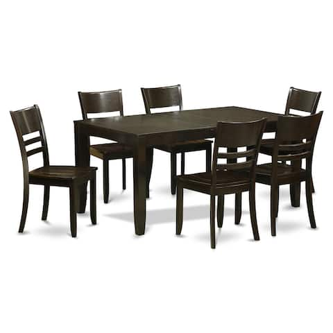 LYFD7-CAP Cappuccino Rubberwood 7-piece Dining Room Set with Leaf Table and 6 Chairs