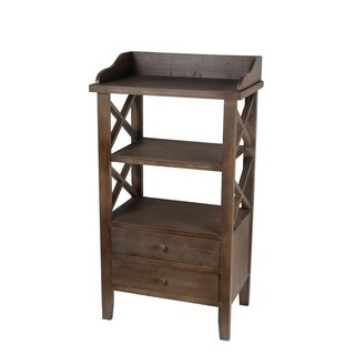 Privilege Chocolate Wood 2-drawer Accent Rack