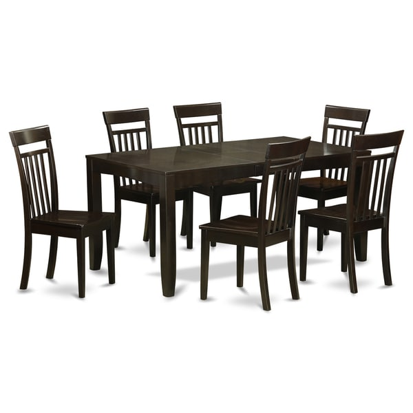 Lyca7 cap 6 chair 7 piece dining table set with leaf for Kitchen set 7 in 1