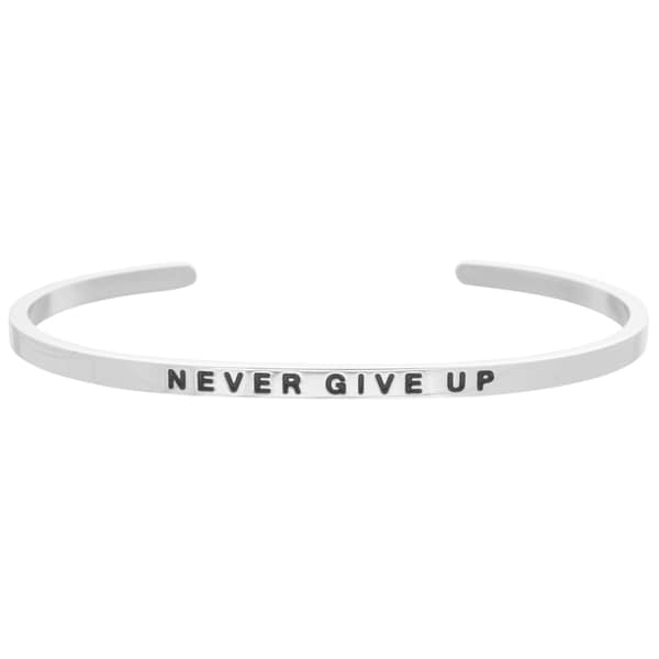 Carolina Glamour Collection White Stainless Steel 'Never Give Up' Bangle Stacking Bracelet