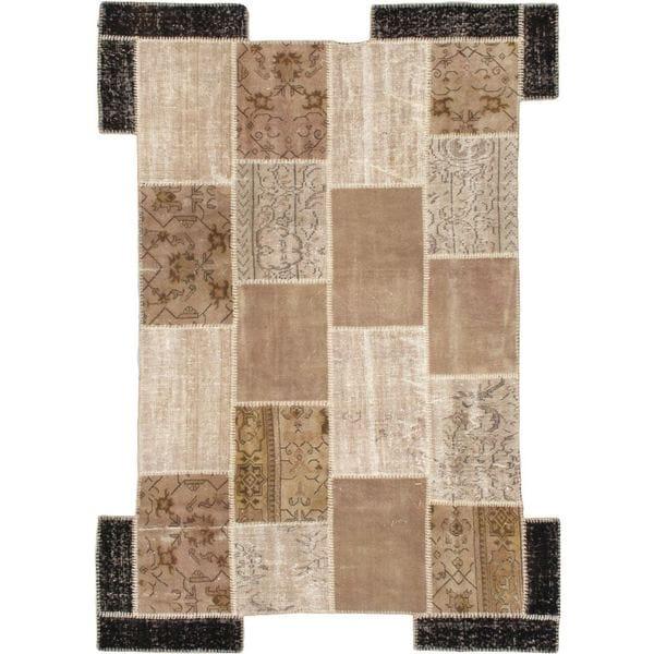 Handmade Ottoman Yama Patchwork Beige Wool Rug. Opens flyout.