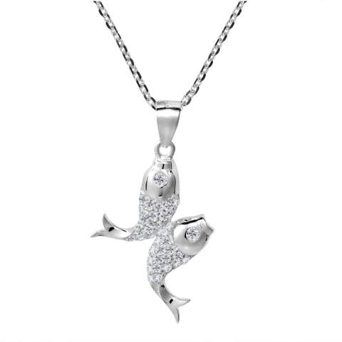 Handmade Pisces Double Fish Zodiac Sign Cubic Zirconia 925 Silver Necklace (Thailand)