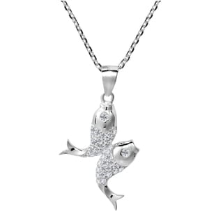 Pisces Double Fish Zodiac Sign Cubic Zirconia 925 Silver Necklace (Thailand)
