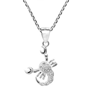 Handmade Scorpio Zodiac Sign Cubic Zirconia 925 Silver Necklace (Thailand)