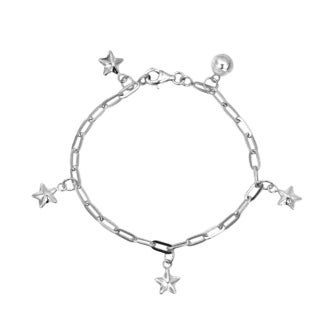 Handmade Shiny Stars Jingle Bell Charms 925 Sterling Silver Child's Bracelet (Thailand)