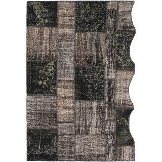 ecarpetgallery Yama Black/Khaki Cotton/Wool Handmade Ottoman Patchwork Rug (5'3 x 7'10)