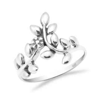Handmade Sweet Blossom Ivy Vine Wrap .925 Sterling Silver Band Ring (Thailand)