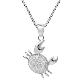 Handmade Chubby Crab Cancer Zodiac Cubic Zirconia 925 Silver Necklace (Thailand)