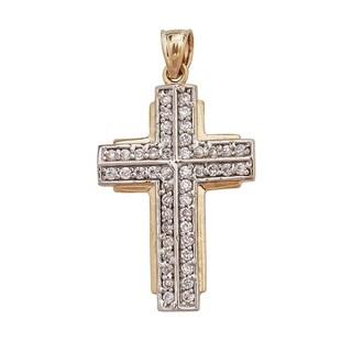 14k Two-tone Gold Pave Cross Pendant