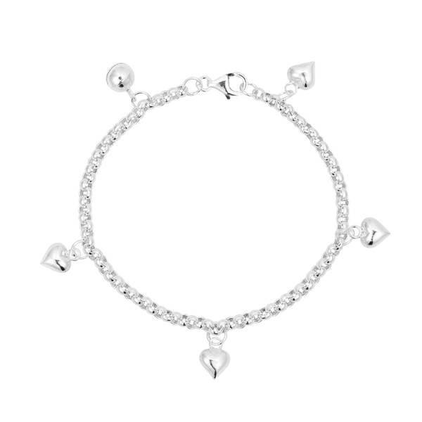 a7f5882f2 Handmade Multi Heart Jingle Bell Charms .925 Sterling Silver Child's  Bracelet