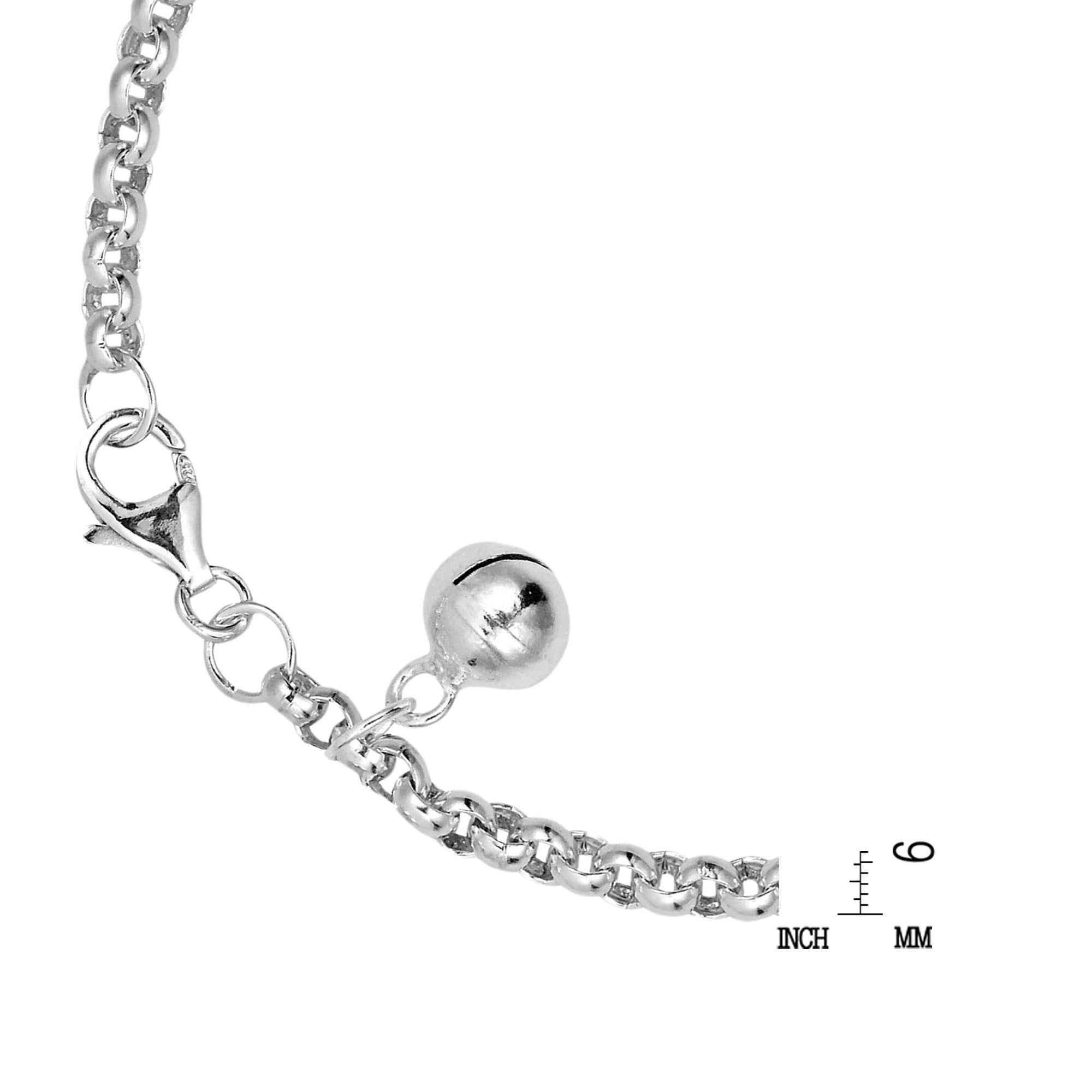 0.24 Inches Wide Sterling Silver Childrens ID Bracelet 6 Inches