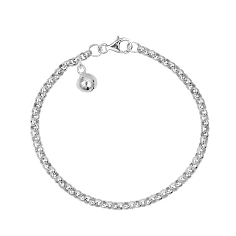 Handmade Classic Rolo Chain Jingle Bell Charm Sterling Silver Child's Bracelet (Thailand)