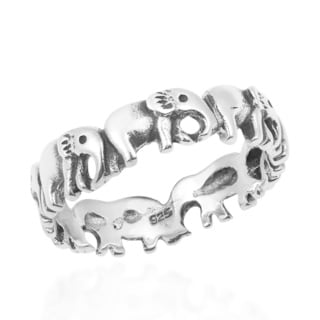 Handmade Enchanting Elephant Parade .925 Sterling Silver Band Ring (Thailand)