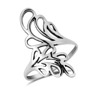 Handmade Lush Ornamental Leaf Wrap .925 Sterling Silver Ring (Thailand)