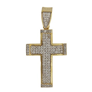 14k Yellow Gold Pave Cross Pendant