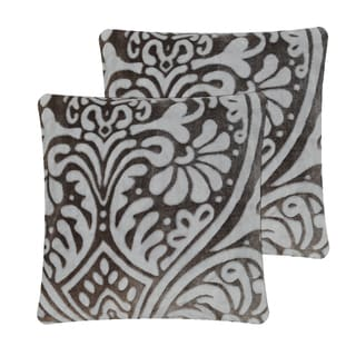 Anna Ricci Grey Polyester Floral Throw Pillow Covers (Set of 2)