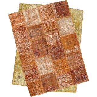 ecarpetgallery Ottoman Yama Brown Wool Handmade Patchwork Rug - 7'1 x 8'9
