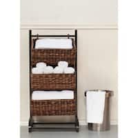 BirdRock Home 3-tier Brown Rattan Storage Cubby