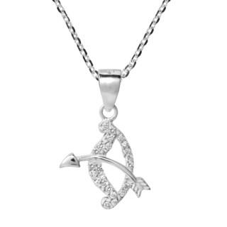 Handmade Sagittarius Archer Zodiac Sign Cubic Zirconia 925 Silver Necklace (Thailand)