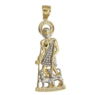 14k Two-tone Gold Cubic Zonia Saint Lazarus with Two Dogs Dangling Pendant