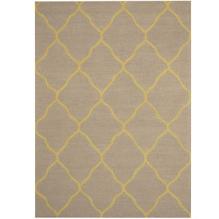Herat Oriental Indo Hand-tufted Light Blue/ Light Green Chevron Wool Rug (5' x 7')