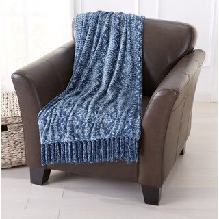 Orleans Collection Microplush/Polyester Printed Fringed Throw