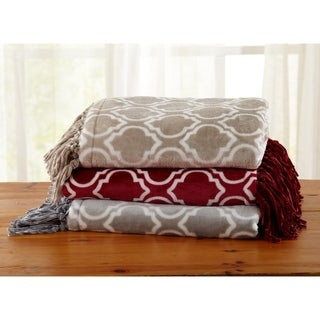 Orleans Collection Ultra-plush Geo-printed Fringed Throw