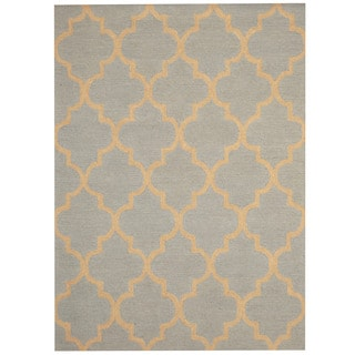 Herat Oriental Indo Hand-tufted Light Blue/ Beige Trellis Wool Rug (5' x 7')