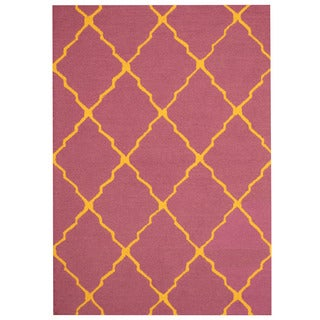 Herat Oriental Indo Hand-tufted Purple/ Yellow Trellis Wool Rug (5' x 7')