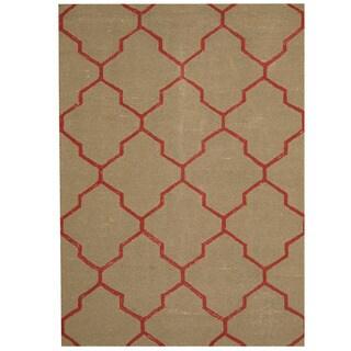 Herat Oriental Indo Hand-tufted Green/ Red Chevron Wool Rug (5' x 7')