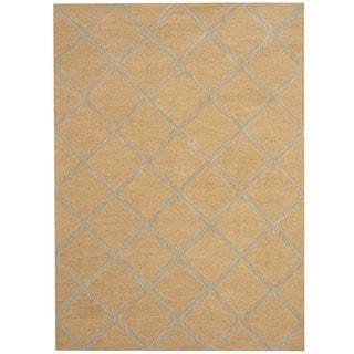 Herat Oriental Indo Hand-tufted Chevron Wool Rug (5' x 7')