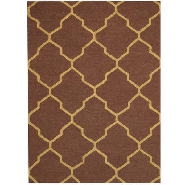 Herat Oriental Indo Hand-tufted Chevron Wool Rug - 5' x 7'