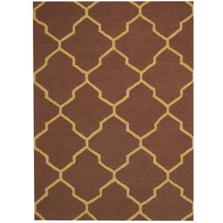 Handmade Herat Oriental Indo Chevron Wool Rug (India) - 5' x 7'