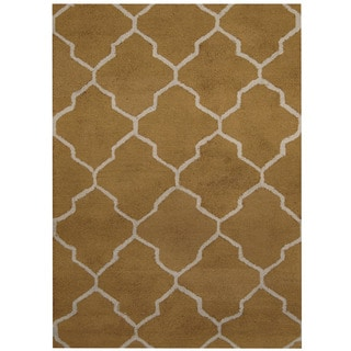 Herat Oriental Indo Hand-tufted Olive/ Light Blue Chevron Wool Rug (5' x 7')
