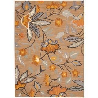 Herat Oriental Indo Hand-tufted Beige/ Navy Floral Wool Rug (5' x 7')