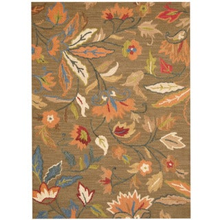 Herat Oriental Indo Hand-tufted Floral Wool Rug (5' x 7')