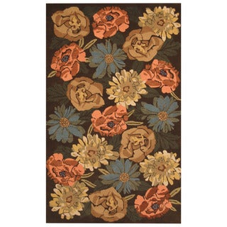 Herat Oriental Indo Hand-tufted Brown/ Ivory Floral Wool Rug (5' x 8')